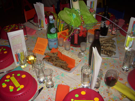 The festive and colorful dinner table
