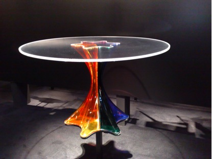 Fabio Novembre's polycarbonate table at the Kartell booth