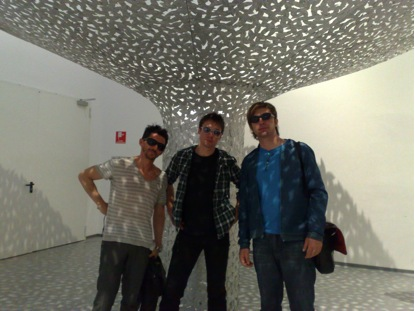 Fabio Di Liberto, Przemek Godycki and a friend at the Tokyo Fiber Senseware exhibition.