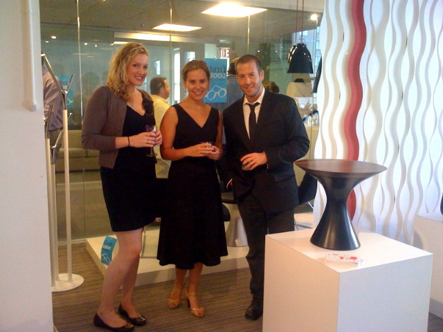 Natalie Hartkopf (of the Hightower Group) and Sofia Galadza with independent designer Brad Ascalon next to his Martini collection in the Hightower showroom