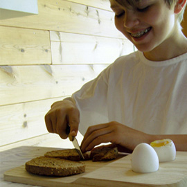 Mouillette - ann egg cup and bread board all in one