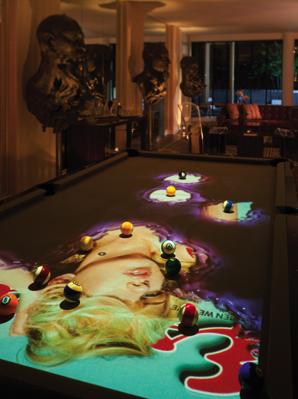 "An $80,000 digital, experiential ""Cuelight"" billiards table by Obscura Digital (Photo credit: Zach DeSart)"