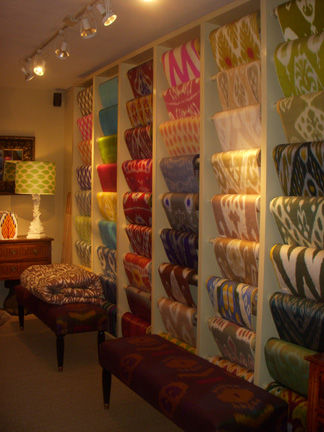 In addition to antiques, Bermingham & Co has a rich selection of fabrics, offering over 100 ikat designs