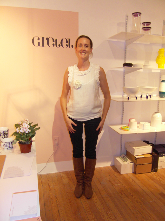 Abby Kellett in her Gretel Home pop-up shop.