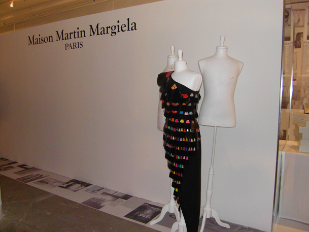Margiela's dress festooned in vintage vinyl.