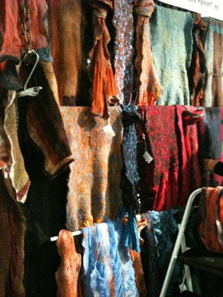 Hand felted shawls and scarves from Chicago-based Gina Pannorfi.