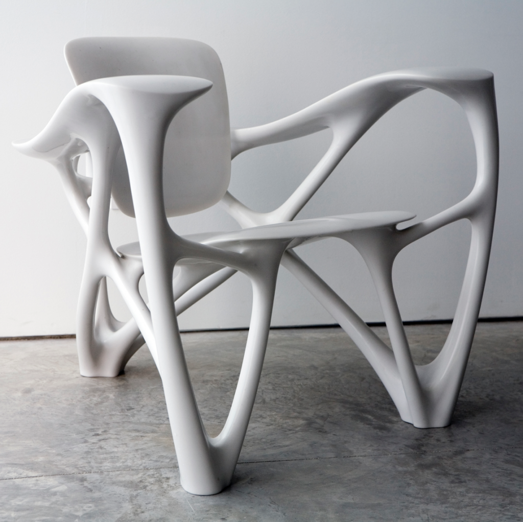 Bone Armchair by Joris Laarman, made of cast marble resin (photo credit: Jon Lam)