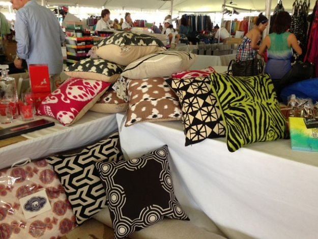 Some stylish throw pillows available for purchase at the Hamptoms Cottages & Gardens Booth at last year's Super Saturday.