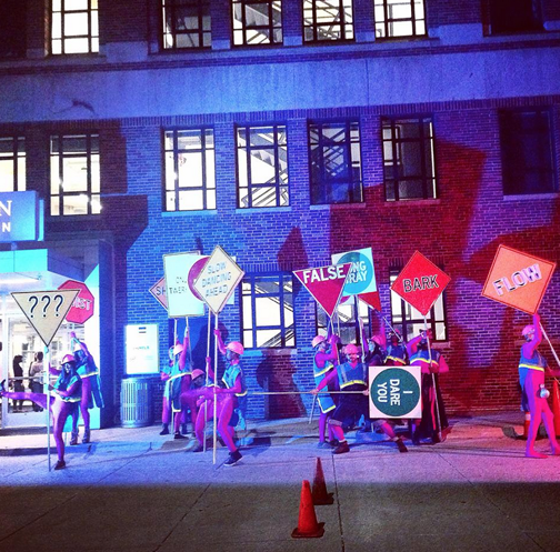 "The ""Safety Shamans"" group makes their grand entrance into DDF's opening night bash. Photo Credit: Detroit Design Festival"