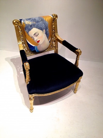 Chair designed by interior designer Aleksander Alembert, which will be auctioned at IFDA Florida's Take A Seat gala. Cuban Impressionist painter Andres Conde painted the image for the back of the chair, which itself is a 1900 Rococo original.  Both Aleksander and Andres reside in Miami.  The chair is at $20,000.