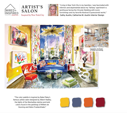 "A room in the ADAC Wired & Inspired. Cathy Austin of Catherine M. Austin Interior Design paid homage to NYC in the design of this ""Artist's Salon"""