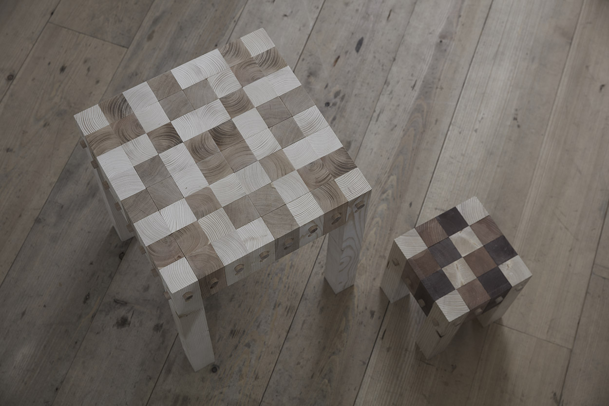 Furniture prototypes that display the lego-like feature for diverse arrangements.