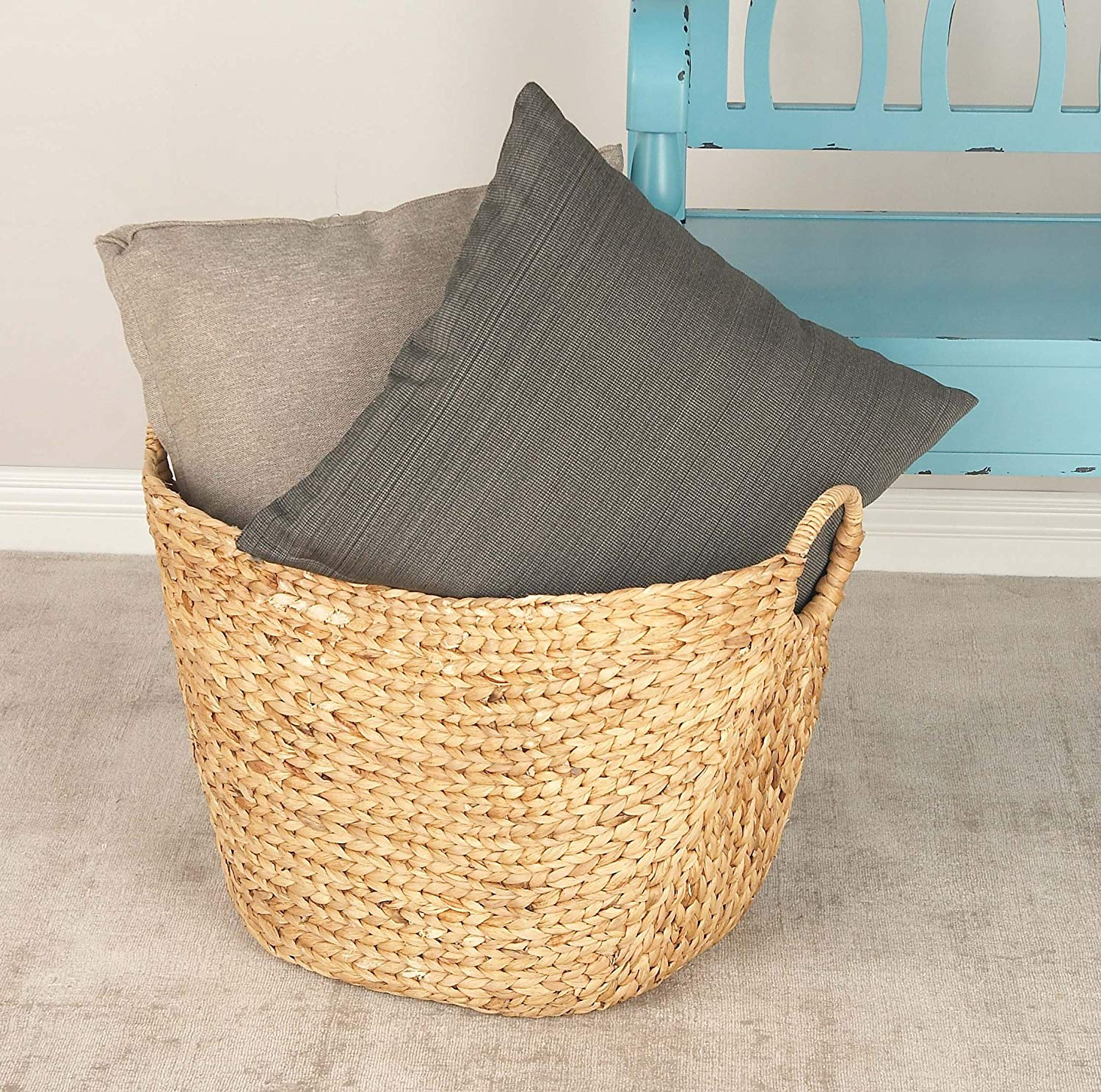 Deco 79 Large Seagrass Woven Wicker Basket. Courtesy of Amazon.