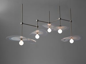Lillypad Chandelier with 5-bulbs and cube bodies